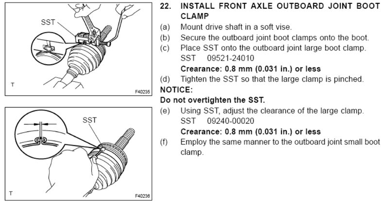 Toyota uses a Special Service Tool (SST) to squeeze the bands around the CV boot.